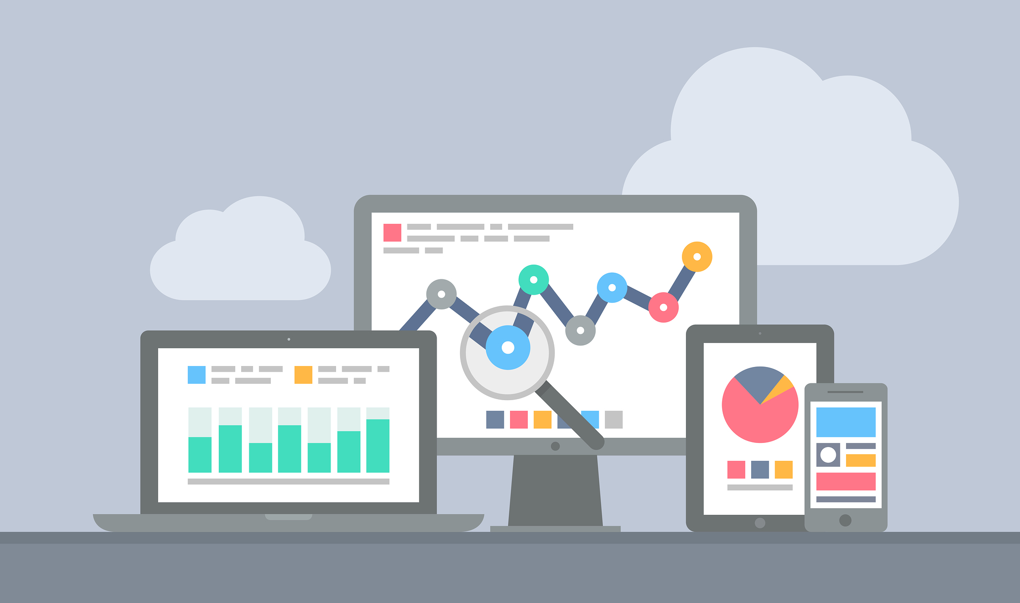 Flat design modern vector illustration concept of website analytics and computing data analysis using modern electronic and apple mobile devices. Isolated on grey background