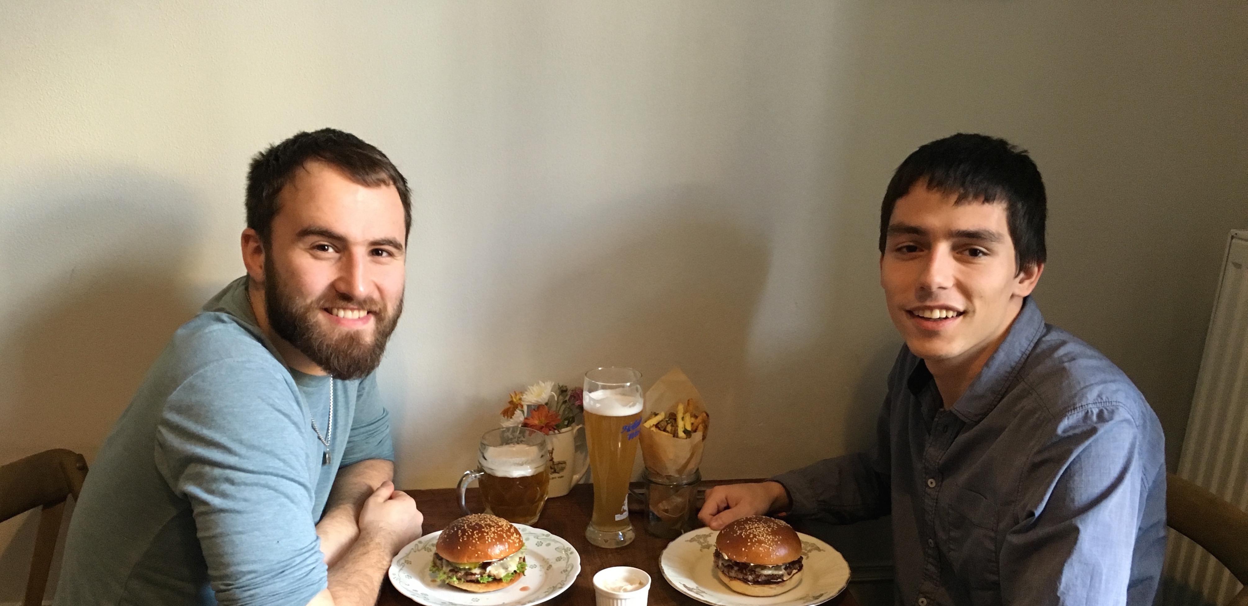 -Two STRV employees, Ilya Novodvorskiy and Jakub Kaspar, enjoying Lucky Lunches
